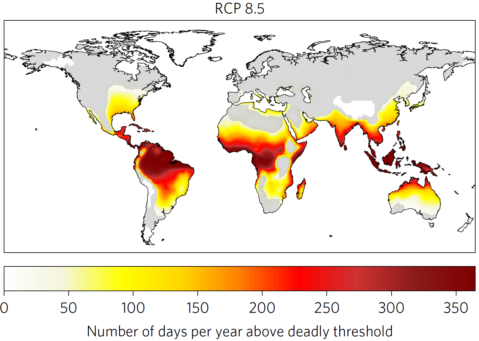 Number of days per year above deadly threshold in 2100 in scenario RCP 8.5